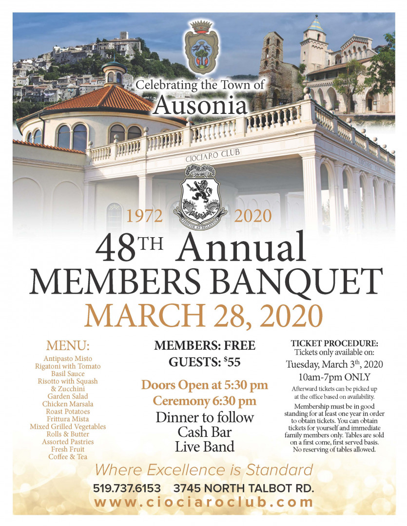 48th Annual Members Banquet (Members Only)