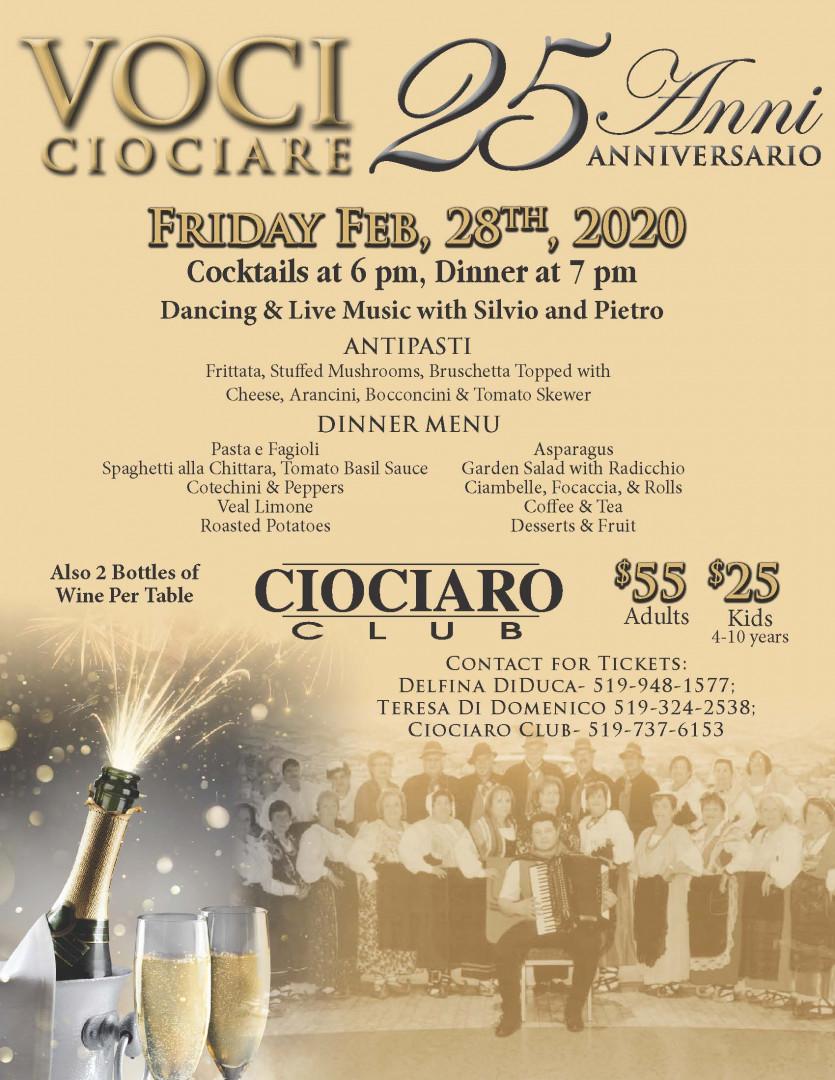 Voci Ciociare 25th Anniversary Banquet